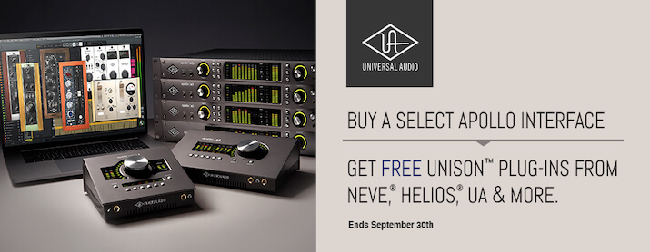 Buy a select UA Apollo interface and get up to £1655 worth of Plug-ins FREE